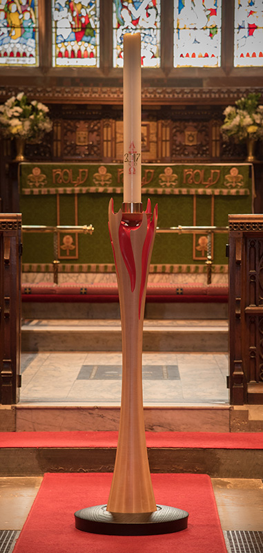 Bespoke handmade church furniture - Paschal Candle Stand - All Saints' Church, Daresbury, Cheshire