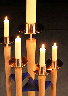 Bespoke handmade church furniture - Advent candle stand -  St Mary's Church, Beaminster, Dorset - more information on this featured church furniture project and enlarged images