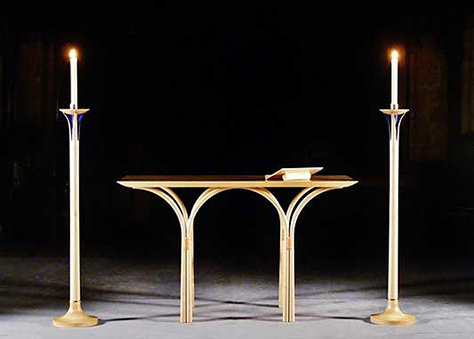 Bespoke handmade church furniture - Altar and candle stands in maple; decorative details in deep blue lacquer and gold leaf - St Mary's Church, Beaminster, Dorset - more information on this featured church furniture project and enlarged images
