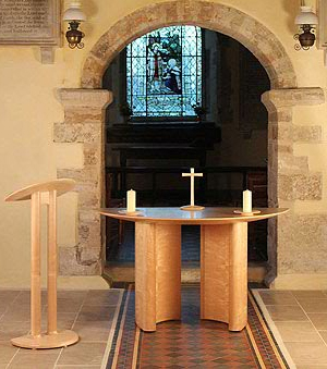Bishop's chair in maple with walnut details - Parish church in East Dorset - more information and an enlarged image