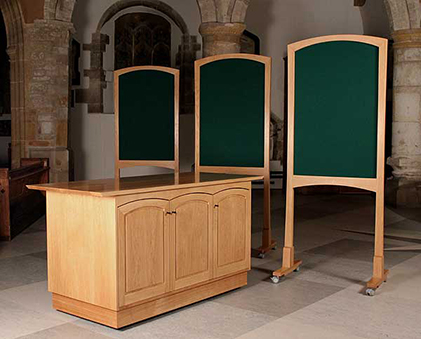 Welcome desk and three display boards in oak, bog oak detail and green baize - St George's Church, Fordington, Dorchester, Dorset - more information and enlarged images